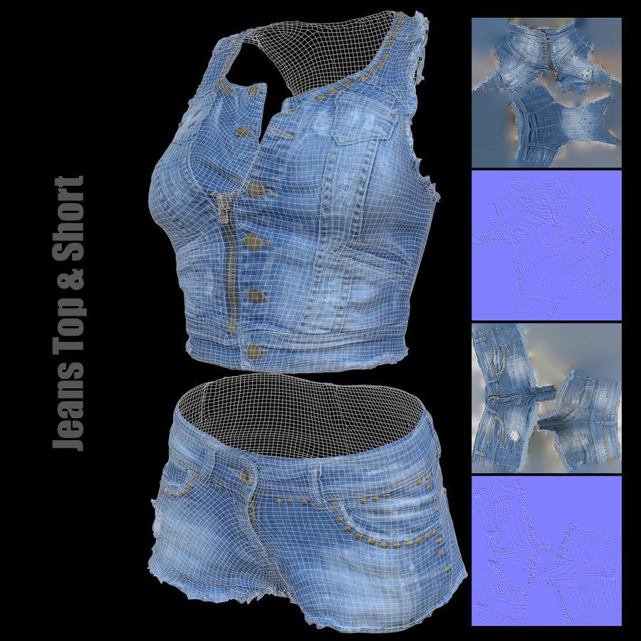 Jeans cortos y top royalty-free modelo 3d - Preview no. 3