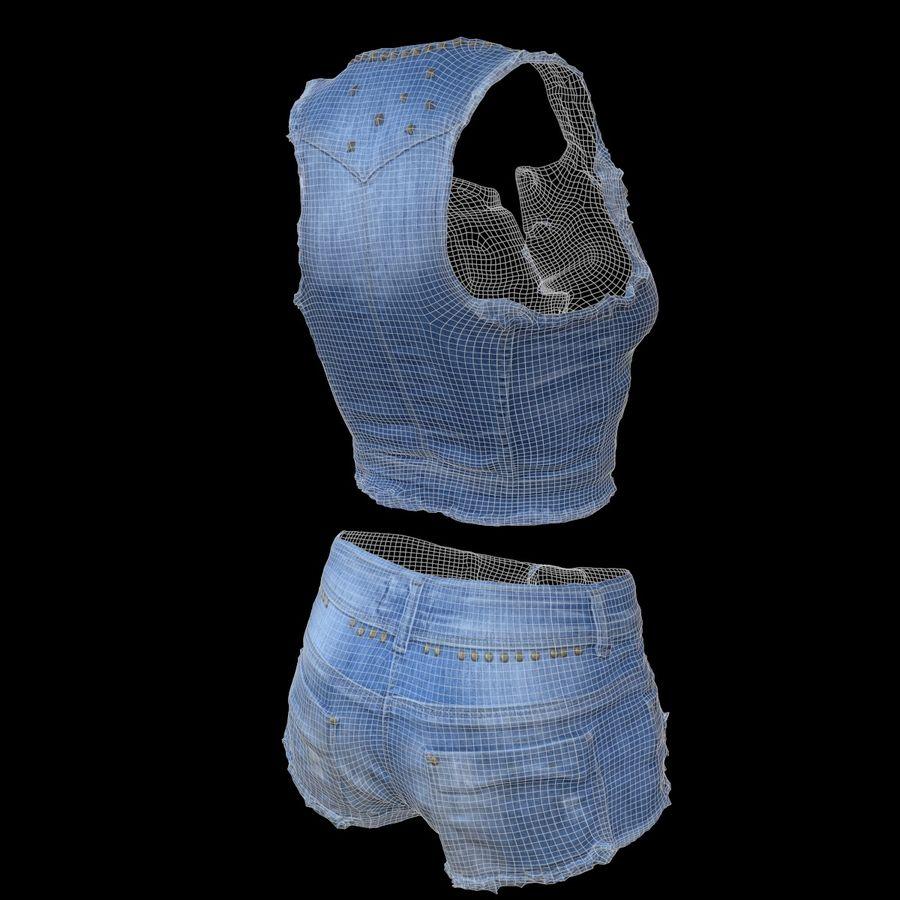 Jeans cortos y top royalty-free modelo 3d - Preview no. 11