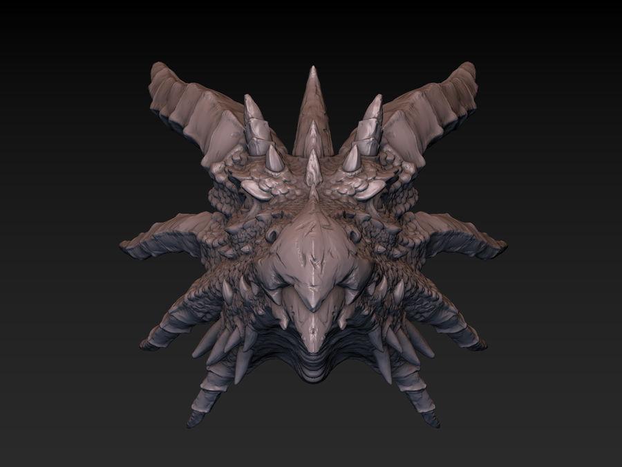 드래곤 헤드 (3D 프린트 준비) royalty-free 3d model - Preview no. 3