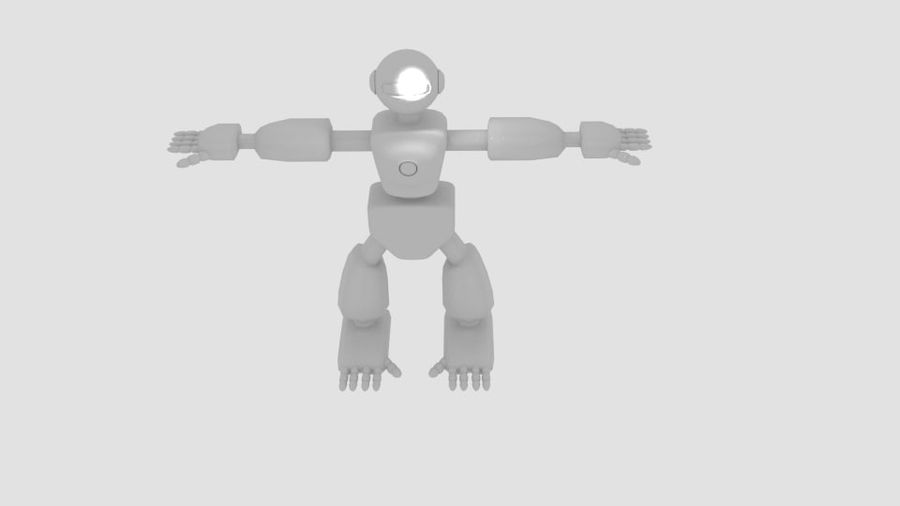 Robot Character Cartoon Bot royalty-free 3d model - Preview no. 6