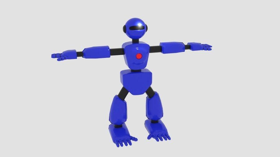 Robot Character Cartoon Bot royalty-free 3d model - Preview no. 2