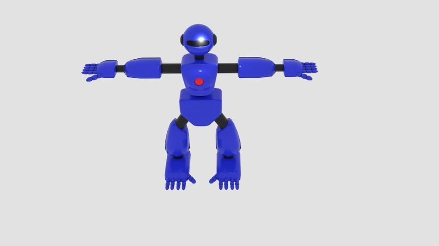 Robot Character Cartoon Bot royalty-free 3d model - Preview no. 5