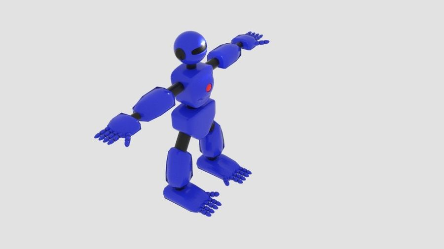 Robot Character Cartoon Bot royalty-free 3d model - Preview no. 3