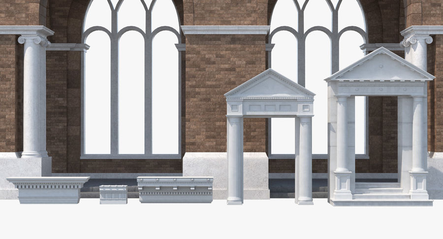 Colección de elementos de arquitectura grecorromana royalty-free modelo 3d - Preview no. 4