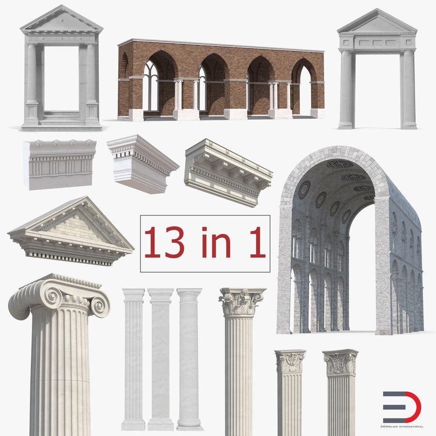 Colección de elementos de arquitectura grecorromana royalty-free modelo 3d - Preview no. 1