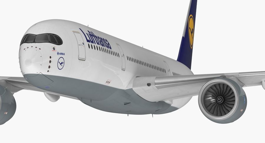 Airbus A350-900 Lufthansa royalty-free 3d model - Preview no. 16