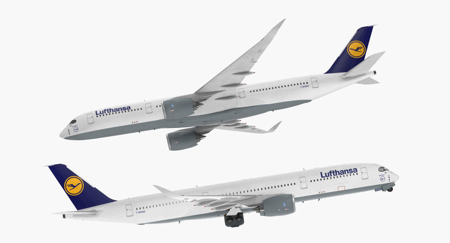 Airbus A350-900 Lufthansa royalty-free 3d model - Preview no. 8
