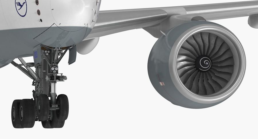 Airbus A350-900 Lufthansa royalty-free 3d model - Preview no. 19