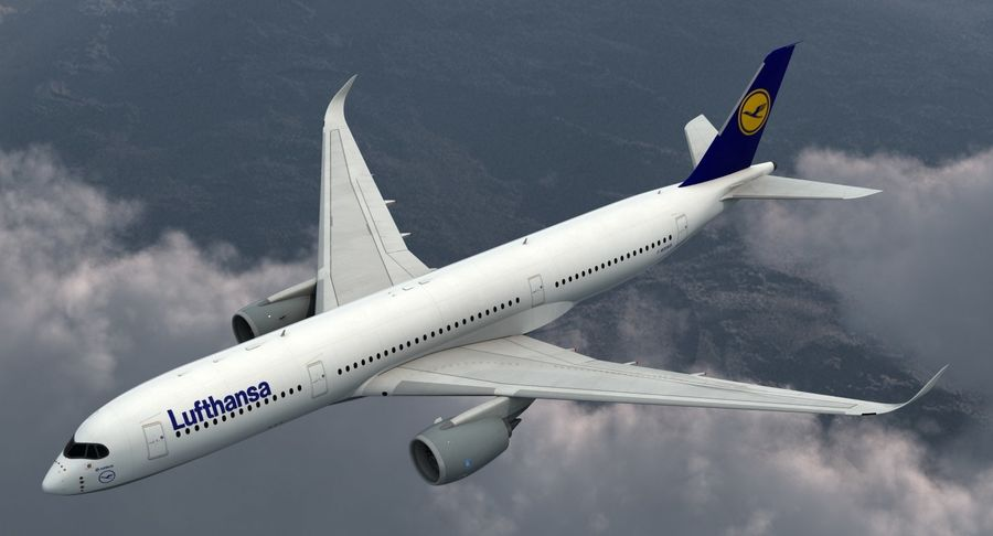 Airbus A350-900 Lufthansa royalty-free 3d model - Preview no. 3