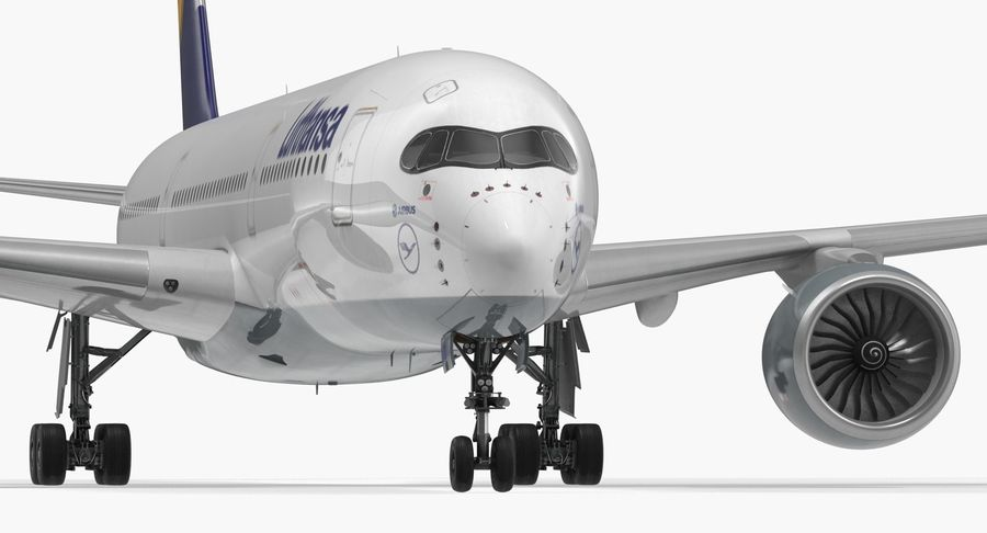 Airbus A350-900 Lufthansa royalty-free 3d model - Preview no. 14