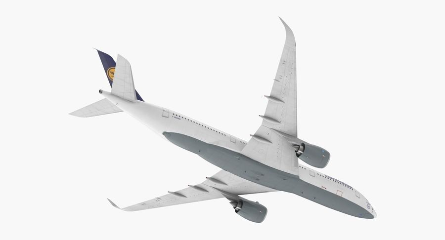 Airbus A350-900 Lufthansa royalty-free 3d model - Preview no. 7