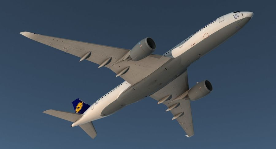 Airbus A350-900 Lufthansa royalty-free 3d model - Preview no. 5