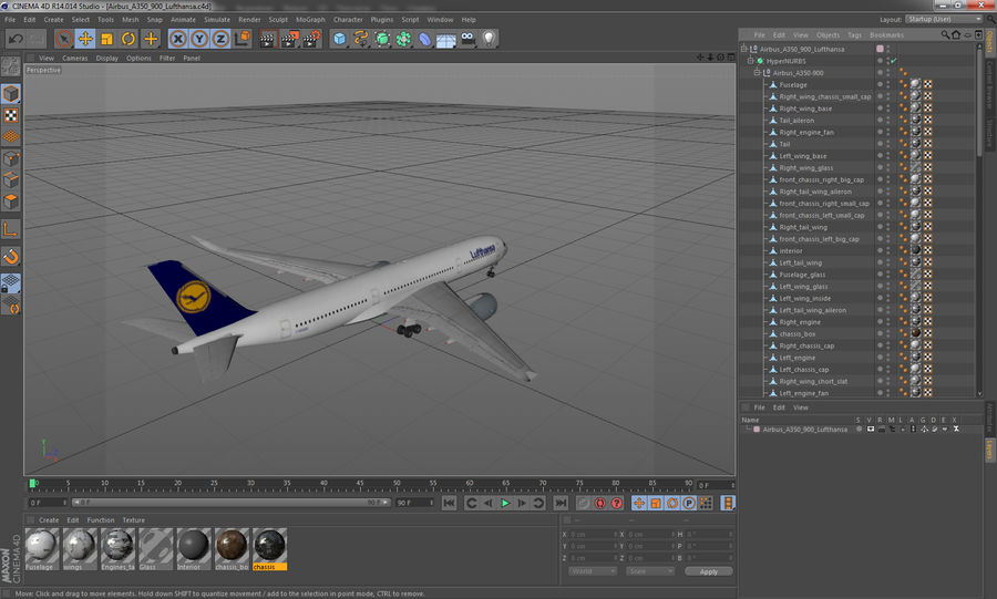 Airbus A350-900 Lufthansa royalty-free 3d model - Preview no. 26