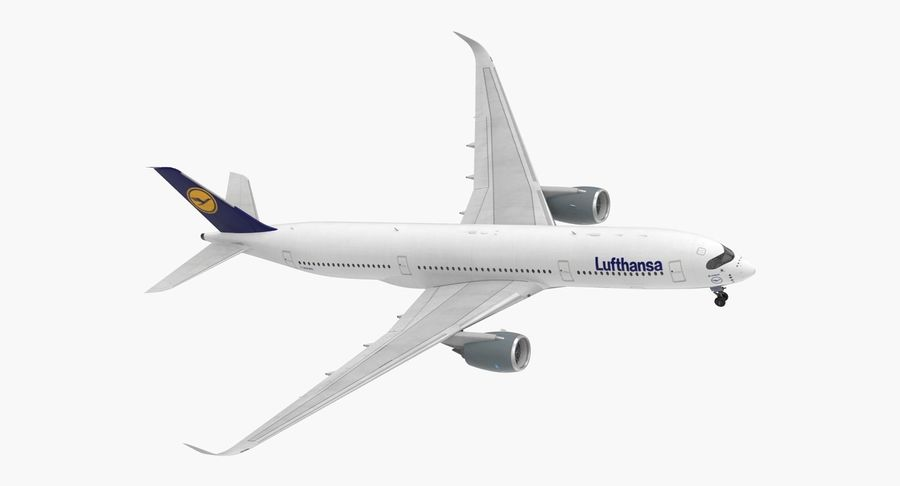 Airbus A350-900 Lufthansa royalty-free 3d model - Preview no. 2