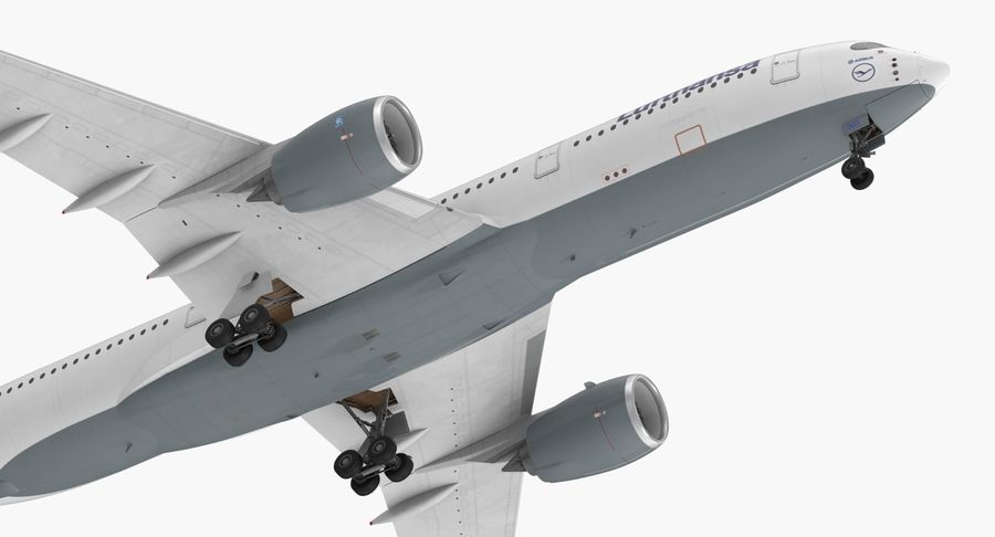 Airbus A350-900 Lufthansa royalty-free 3d model - Preview no. 15
