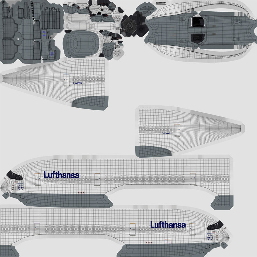 Airbus A350-900 Lufthansa royalty-free 3d model - Preview no. 22