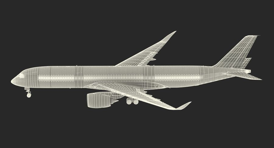 Airbus A350-900 Lufthansa royalty-free 3d model - Preview no. 27