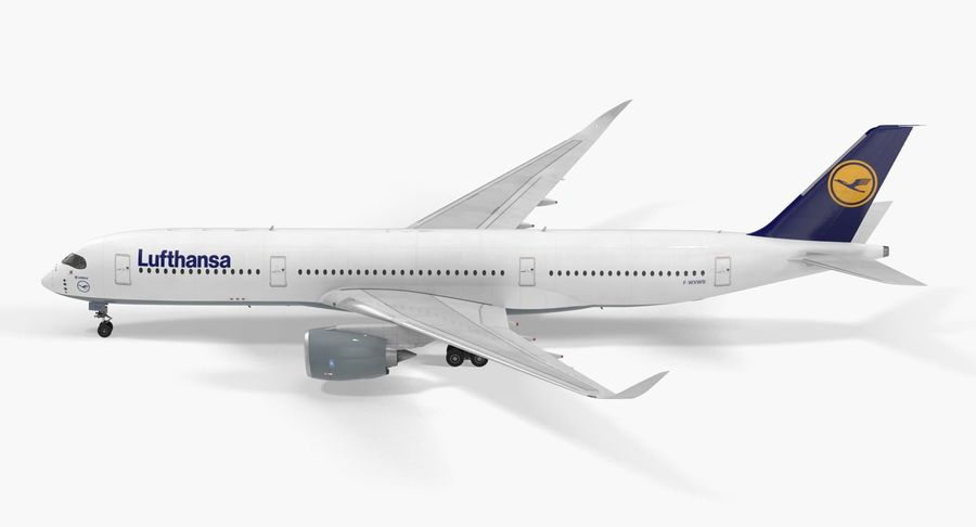 Airbus A350-900 Lufthansa royalty-free 3d model - Preview no. 6