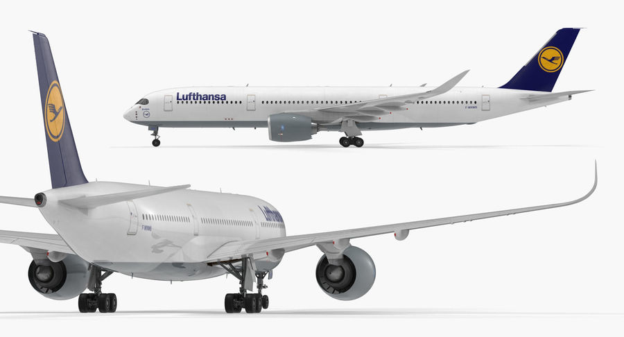 Airbus A350-900 Lufthansa royalty-free 3d model - Preview no. 9