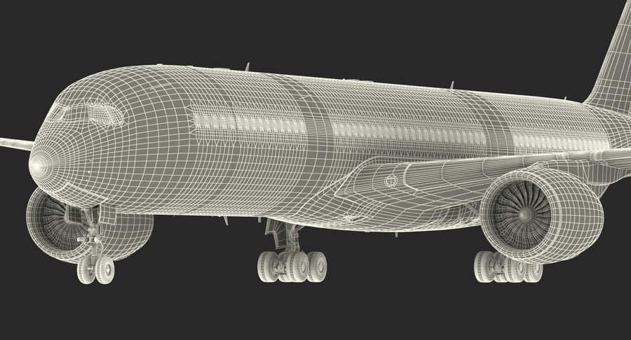 Airbus A350-900 Lufthansa royalty-free 3d model - Preview no. 30