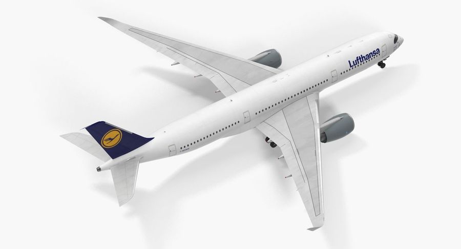 Airbus A350-900 Lufthansa royalty-free 3d model - Preview no. 10