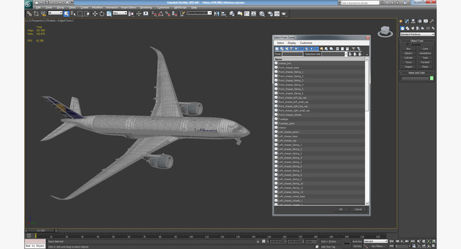Airbus A350-900 Lufthansa royalty-free 3d model - Preview no. 24