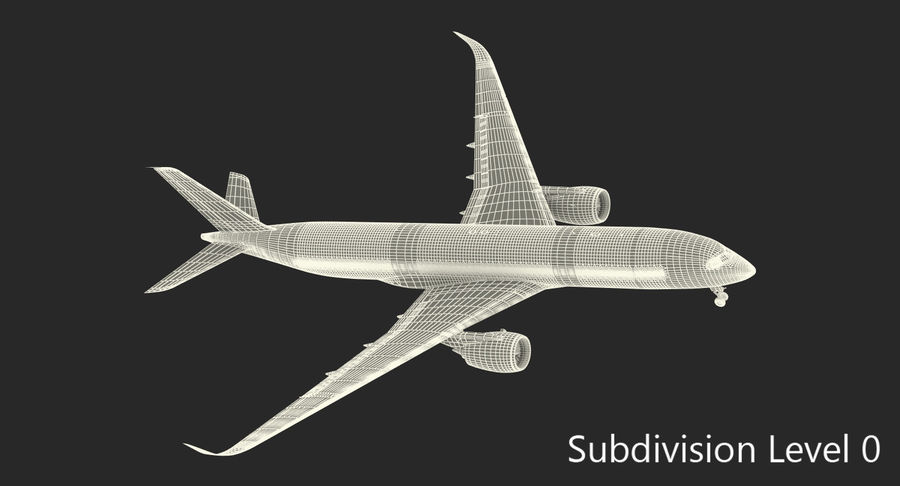 Airbus A350-900 Lufthansa royalty-free 3d model - Preview no. 20