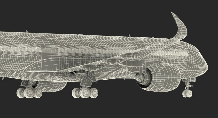 Airbus A350-900 Lufthansa royalty-free 3d model - Preview no. 31