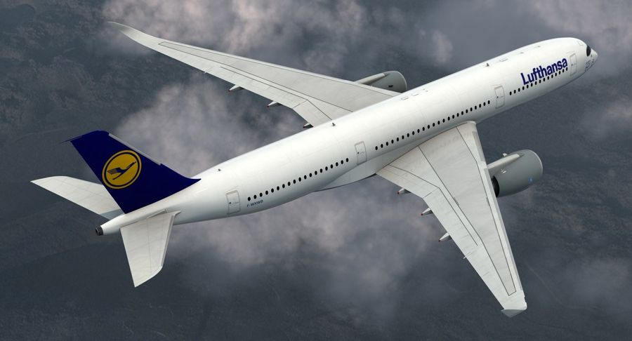 Airbus A350-900 Lufthansa royalty-free 3d model - Preview no. 4