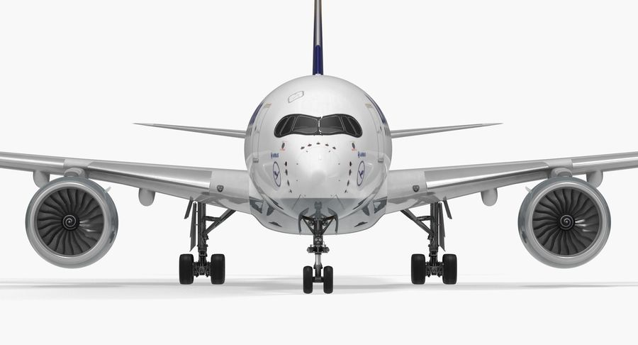 Airbus A350-900 Lufthansa royalty-free 3d model - Preview no. 12