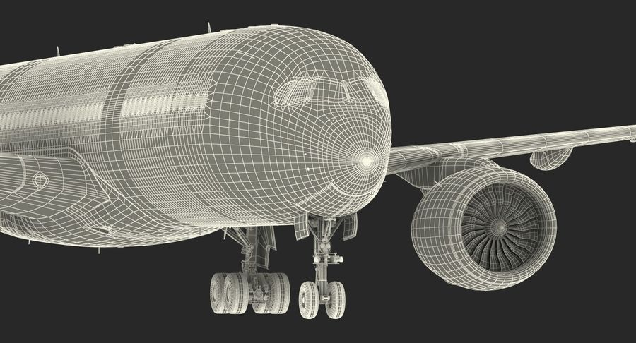 Airbus A350-900 Lufthansa royalty-free 3d model - Preview no. 33