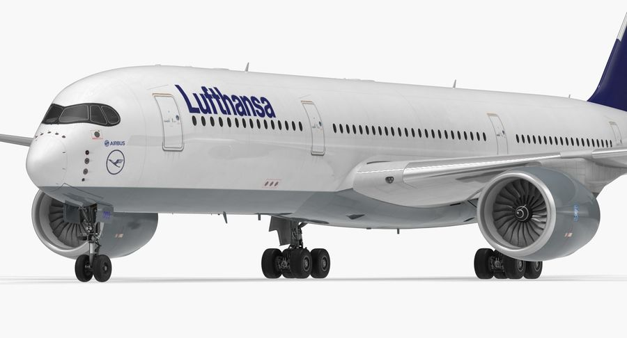 Airbus A350-900 Lufthansa royalty-free 3d model - Preview no. 13
