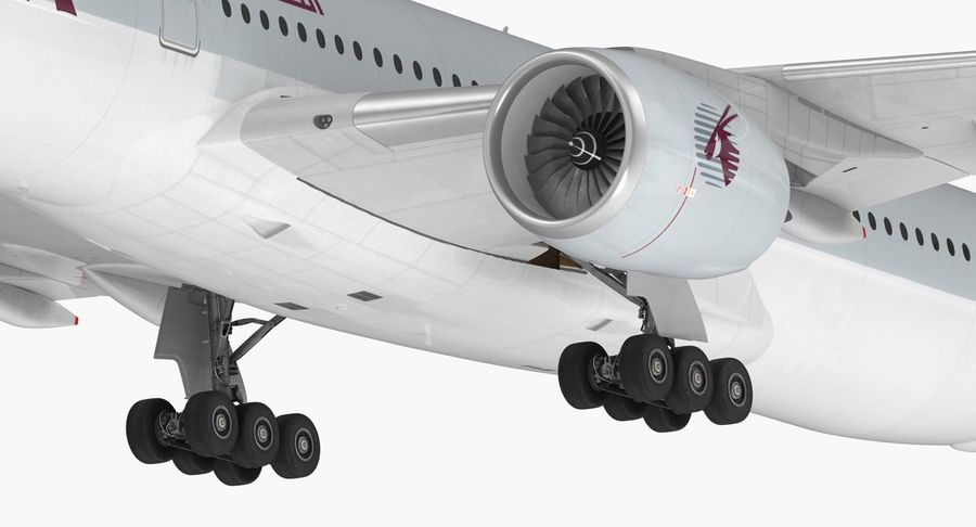 Airbus A350-1000 Qatar royalty-free 3d model - Preview no. 18