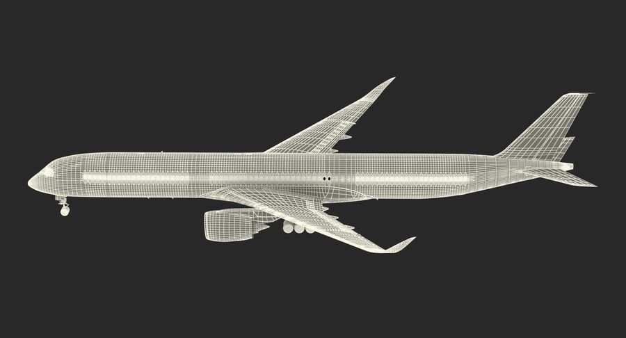 Airbus A350-1000 Qatar royalty-free 3d model - Preview no. 26