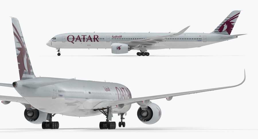 Airbus A350-1000 Qatar royalty-free 3d model - Preview no. 9