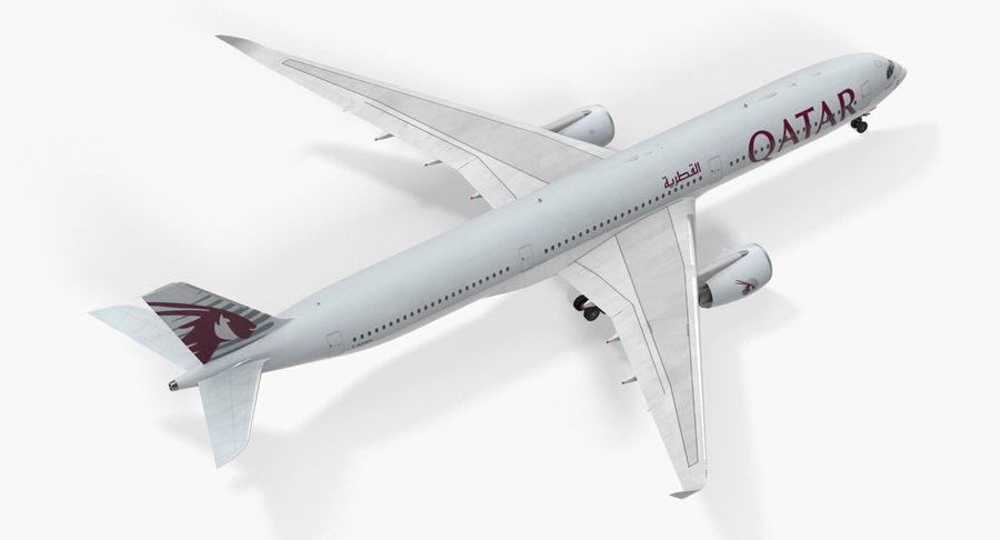 Airbus A350-1000 Qatar royalty-free 3d model - Preview no. 10