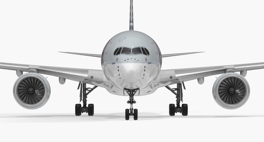 Airbus A350-1000 Qatar royalty-free 3d model - Preview no. 12