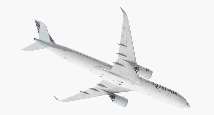 Airbus A350-1000 Qatar royalty-free 3d model - Preview no. 7