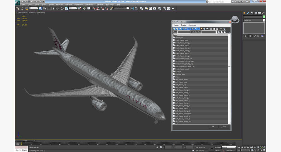 Airbus A350-1000 Qatar royalty-free 3d model - Preview no. 23