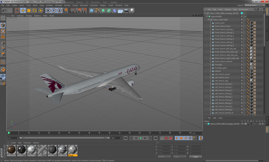 Airbus A350-1000 Qatar royalty-free 3d model - Preview no. 25