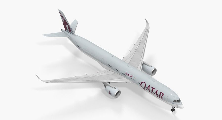 Airbus A350-1000 Qatar royalty-free 3d model - Preview no. 2