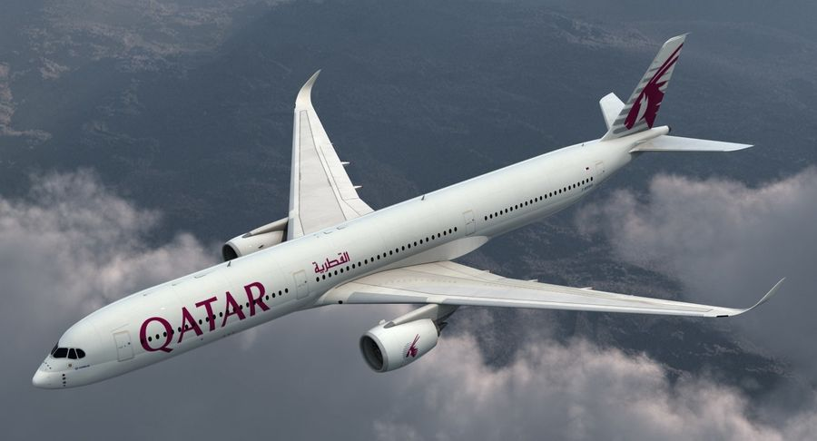 Airbus A350-1000 Qatar royalty-free 3d model - Preview no. 3