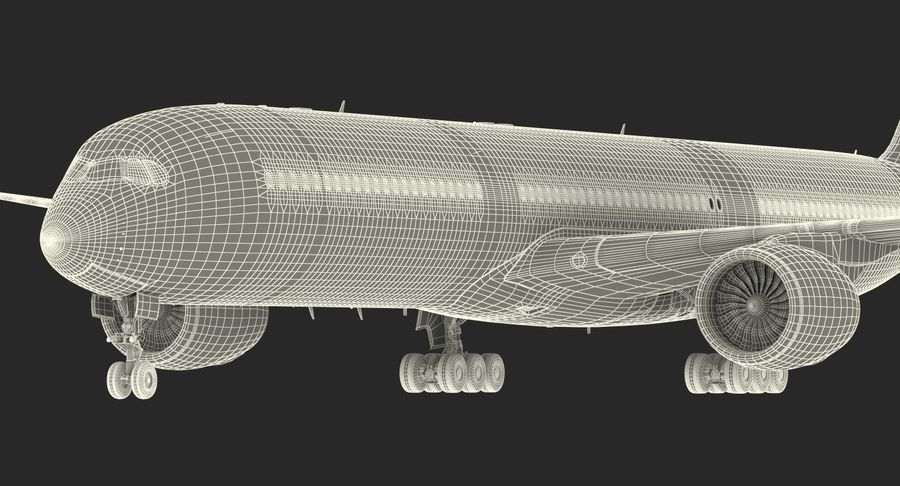 Airbus A350-1000 Qatar royalty-free 3d model - Preview no. 30