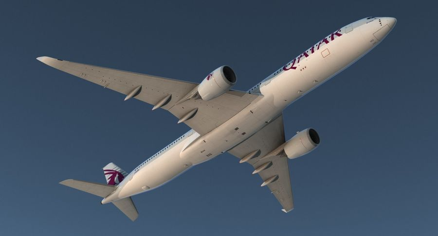 Airbus A350-1000 Qatar royalty-free 3d model - Preview no. 5