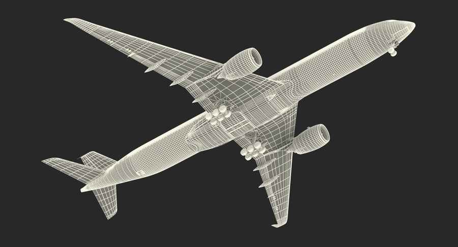 Airbus A350-1000 Qatar royalty-free 3d model - Preview no. 28