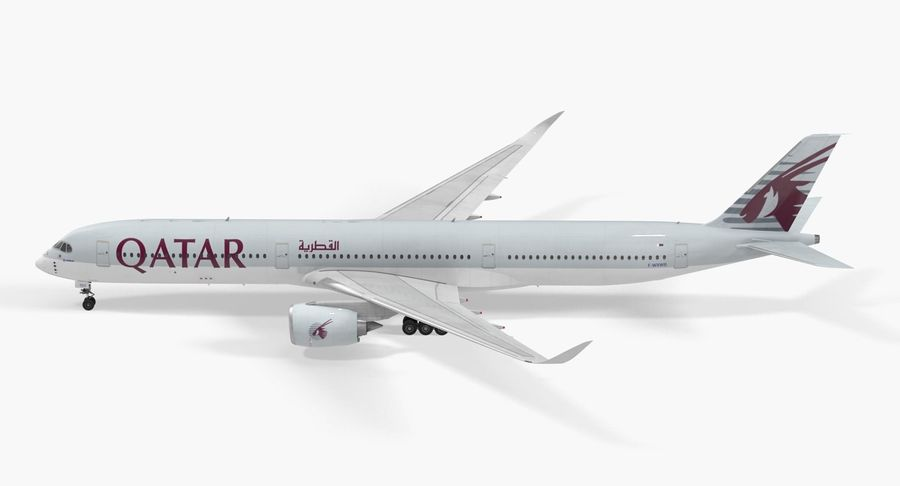 Airbus A350-1000 Qatar royalty-free 3d model - Preview no. 6