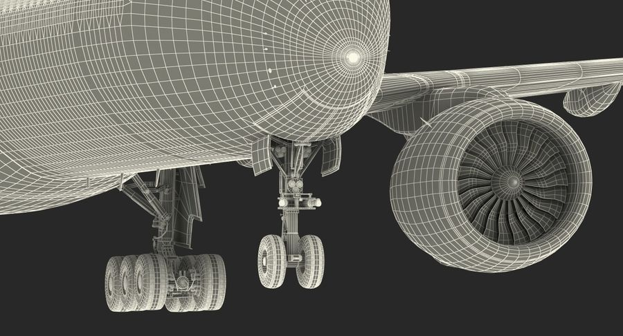 Airbus A350-1000 Qatar royalty-free 3d model - Preview no. 33