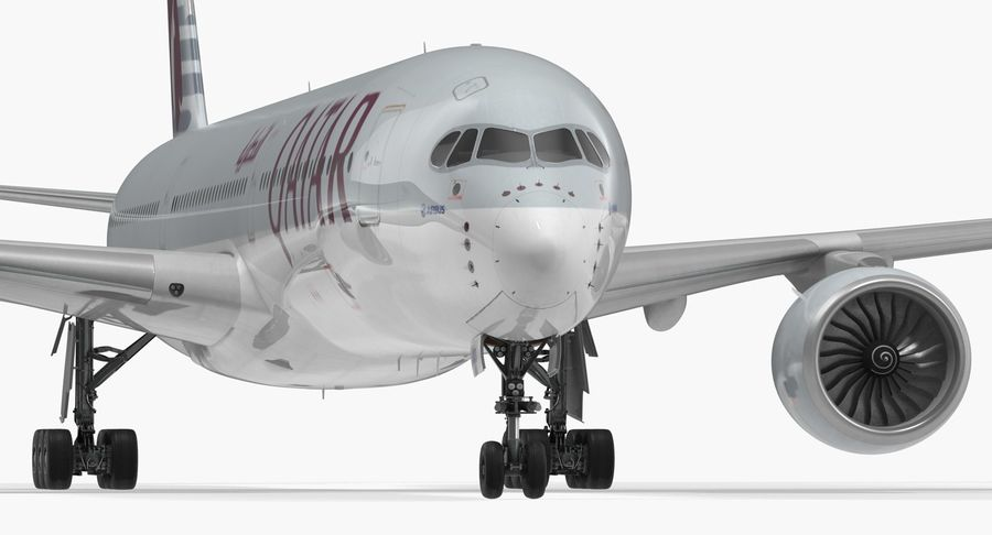 Airbus A350-1000 Qatar royalty-free 3d model - Preview no. 14
