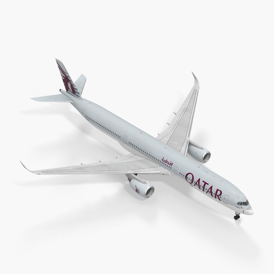 Airbus A350-1000 Qatar royalty-free 3d model - Preview no. 1