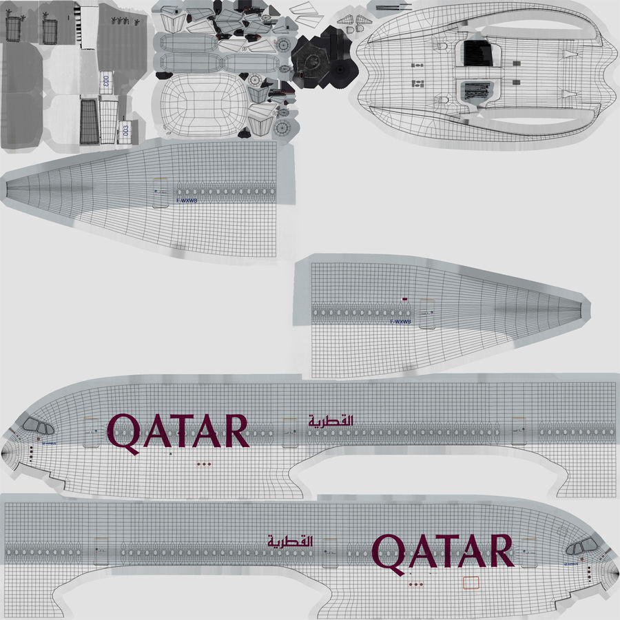 Airbus A350-1000 Qatar royalty-free 3d model - Preview no. 21